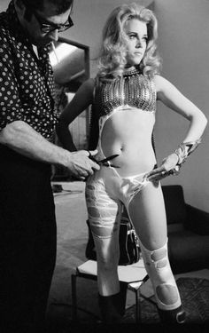 Roger Vadim and Jane Fonda on the Set of Barbarella