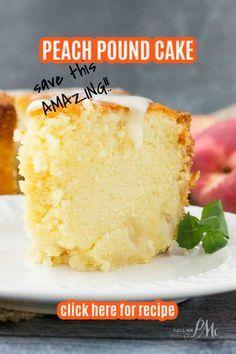 Fresh Peach Pound Cake Recipe, Peach Pound Cakes, Pound Cake Recipes, Crunchy Top Pound Cake Recipe, Peach Cake Recipes, Desserts To Make, Delicious Desserts, Yummy Food, Baking Recipes