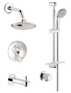 View the Grohe GSS-Europlus-DTH-06 Europlus Thermostatic Shower System with Rain Shower Head, Handshower, Slide Bar, Wall Supply, Tub Spout, Integrated Diverter and Volume Control - Rough-In Valve Included at FaucetDirect.com.