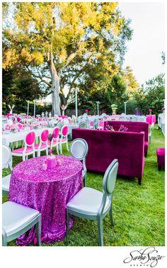 Leah's Super Chic Bat Mitzvah » Sparkliatti -  lounge seating & pink, white & silver decor.  Image by @Damion Hamilton-Photographer