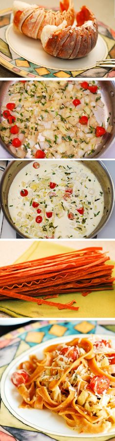 Lobster & Tomato Basil Garlic Fetuccini in a garlic and tarragon cream sauce. A delicious way to cook lobster meat! Fish Recipes, Seafood Recipes, Great Recipes, Cooking Recipes, Favorite Recipes, Lobster Pasta, Lobster Meat, How To Cook Lobster, How To Cook Pasta