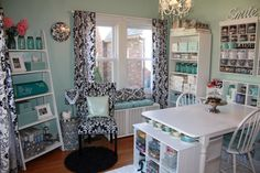 A beautiful and well organized craft room.