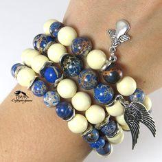 """Купить """"Джинсовый ангел"""" Браслеты из натуральных камней. Многорядный браслет - синий, многорядный браслет"""