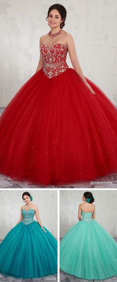 MQ1014   Sparkling tulle quinceanera ball gown features strapless sweetheart neck line, beaded bodice, basque waist line, back lace-up closure, sweep train, and matching bolero.