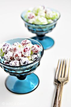 Grape salad makes a delicious cool salad. Slightly sweetened with honey, this grape salad is a favorite!