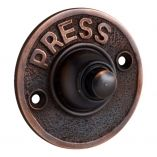 """Press"" Bronze Door Bell Surround & Button. Available in various finishes. Get it from Schots: https://www.schots.com.au/round-press-bell-push.html https://www.schots.com.au/press-doorbell-8123.html"