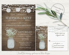 Rustic Mason Jar wedding invitations and rsvp card designed with mason jar and babys breath country wedding in mind. The wedding invitation is 5x7 and has a barn wood or chalkboard background with a mason jar filled with baby's breath with fun flickering lights and optional paper lanterns. The invite is completed with contemporary fonts and stylings.