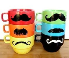 Mustache cups