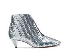 Santoni | Laced-up #ankleboot in silver laminated leather. #Santoni #Santonishoes #FW1516