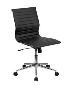 Mid-Back Armless Black Ribbed Upholstered Leather Swivel Conference Chair [BT-9836M-2-BK-GG]