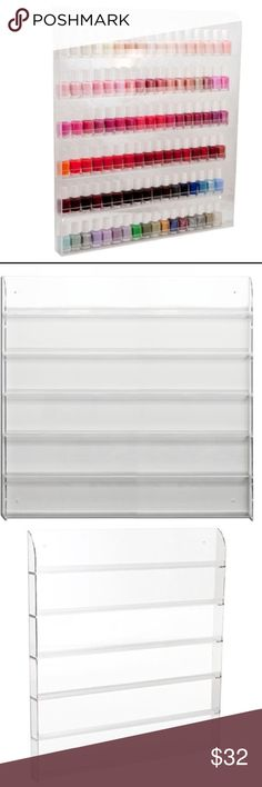 """6 TIER ACRYLIC NAIL POLISH RACK CLEAR 6 tier acrylic nail polish rack to mount on the wall -- """"salon wall display""""  *holds up to 104 ESSIE nail polishes (17 going across *holds up to 90 OPI nail polishes (15 going across)  Measurements: 20.5 x 1.5 x 24 inches  I have 2 on my listings. Polishes not included.   PRICE IS FIRM. Other"""