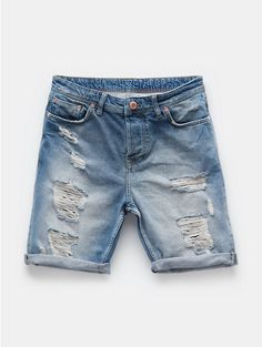 Destructed denim shorts blauw, bleached - The Sting