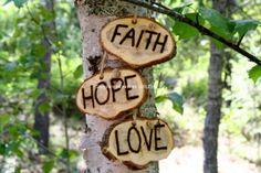 FAITH, HOPE, LOVE Wood Signs, Ornaments, Decorations 1 Corinthians 13:13, Rustic Wedding Portrait Props. $19.95, via Etsy.