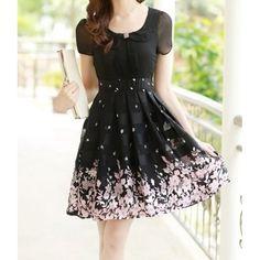 Elegant Peter Pan Collar Short Sleeve Floral Print Chiffon Dress For WomenChiffon Dresses | RoseGal.com