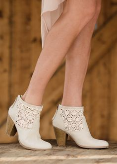 Always Searching for You Lace Booties Beige - Modern Vintage Boutique