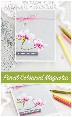 Pencil coloured magnolia card by Debby Hughes using the new Altenew Build A Flower Magnolia set. Find out more about this card by clicking on the following link: http://limedoodledesign.com/2017/05/altenew-build-a-flower-magnolia-altenew-academy-giveaway/