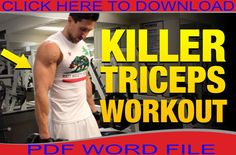 Best triceps home exercise to create a successful muscle growth. Big Arm Workout, Home Boxing Workout, Ab Workout Men, Insanity Workout, Best Ab Workout, Dumbbell Workout, Workout Schedule, Workout Plans, Workout Routines