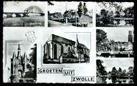 Zeven verschillende afbeeldingen van Zwolle, ca. 1955: