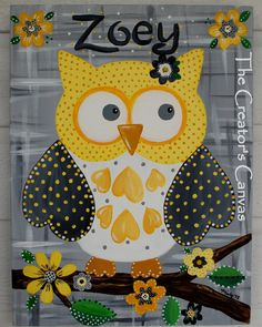Owl Girls room or Nursery painting.  Can customize colors and name