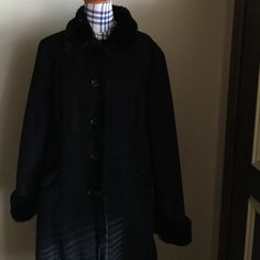 Ann Taylor faux fur lining winter coat size L? I am selling a jet black beautiful faux fur lined coat purchased by me years ago from Ann Taylor.  Not sure on the size but I am guessing a roomy Large.   Measurements are 40 chest, 26 sleeves including fur.  I cut both the size and cleaning instructions from coat 😟.    I have worn this coat in the winter.   Button down closure with faux fur around the bottom of the sleeves.   Buttons are loose, needs sewing.  No tears/trades. Ann Taylor…