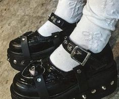 Aesthetic Shoes, Goth Aesthetic, Aesthetic Fashion, Aesthetic Clothes, Pretty Shoes, Cute Shoes, Me Too Shoes, Emo Shoes, Looks Style