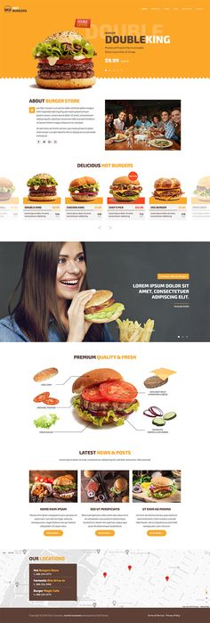 Hot Burgers template is responsive Joomla template dedicated to fast food restaurants that have burgers as the main offer in their menus. This template will be a great starting point for making the online menu for any restaurant. Joomla Templates, Fast Food Restaurant, Burgers, Restaurants, Menu, Fresh, Hot, Hamburgers, Menu Board Design