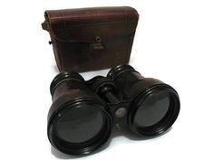 Edwardian French Binoculars in Leather Case by WhiteHartAntiques