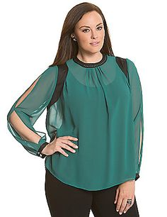 Pleated chiffon blouse works a little 6th & Lane attitude into your wardrobe with bold colorblocking and a studded collar. Split long sleeves with buttoned cuffs. Button back closure with keyhole detail. lanebryant.com