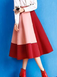 Absorbing Color Block Flared Midi Skirt   #skirt #womens #stylish #fashion #tops #womens