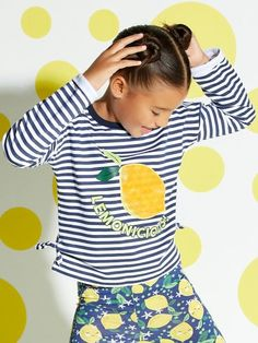 Our stripe print slogan top comes in a soft cotton with long sleeves and an embroidered shimmer lemon making everyday outfitting look easy peasy lemon squeezy! Price Available in sizes yr yr yr yr yr. Kids Girls Tops, Slogan Tops, Stripe Print, Stripe Top, Color Stripes, Long Sleeve, Fabric, Sleeves, Cotton