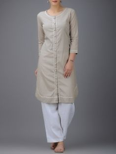 Beige Embroidered Round Neck Button-down Cotton Kurta