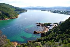 A view of Knysna, South Africa and the lagoon from a viewpoint the top of the Heads.