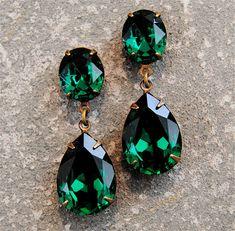Emerald Earrings  Emerald Rhinerstone Post Earrings  by MASHUGANA, $46.50