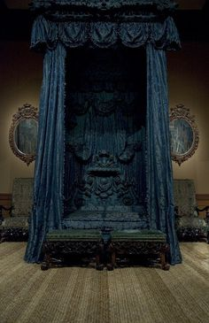 Extraordinary bed that was taken from Hampton Court Palace, Richmond upon Thames, London, England. It now sits in the Metropolitan Museum of Art
