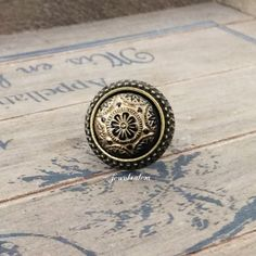 Gold Black Ring Exotic Vintage Stone Tile Spanish Mosaic Mexican Aztec Preppy Statement Ring Antique Brass LOTR Fantasy Boho Indie ArwenS