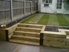 Bench, steps & raised bed made of railway sleepers. Fairly plain layout but useful for ideas. Might need anti-slip coating for wet-weather. Like the bench to the right (mostly out of picture).