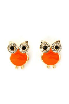 Sweet Sorbet Crystal Owl Earrings on Emma Stine Limited