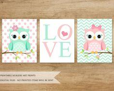Items similar to Nursery Print. Mint Pink Nursery Art on Etsy - Products, Owl Themed Nursery, Owl Nursery, Baby Girl Nursery Decor, Animal Nursery, Nursery Prints, Mint Nursery, Baby Decor, Baby Girl Owl, Shower Bebe