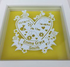 Personalised New Baby Papercut Framed Custom by QuiltyPigs on Etsy