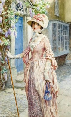 ▴ Artistic Accessories ▴ clothes, jewelry, hats in art - William Henry Margetson | A Lady of Quality
