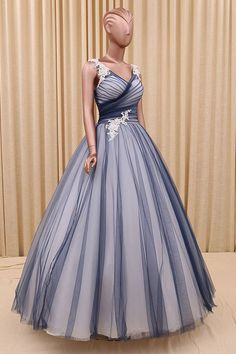 New navy blue tulle prom dress, ball gowns wedding dress