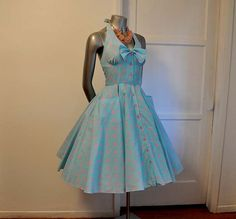 Vintage 80's does 50's Halter Polka Dot Full Circle Skirt Dress