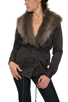 Women's Gentle Fawn Measure Anorak with Faux Fur Collar in Grey Size XS
