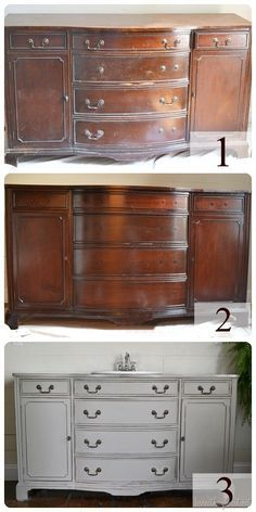 dresser to vanity ~~ love this! ( inspiration to do this to my mahogany buffet cabinet in a satin black w/new hardware. / ll ) Finally a transformation that used the correct style of sink to complete the look. Gorgeous.