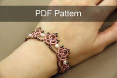 Tatting lace bracelet pdf pattern by TheKimAndI on Etsy