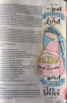 Bible Journaling, Luke 1:47 (Magnificat) and 1:42. Micron pen and colored pencils.