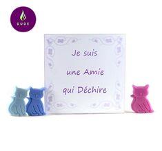 """Coffret Fondants Parfumés """"Je suis une Amie qui Déchire"""" 15 Petits chats cire végétale pour brûle parfum"""