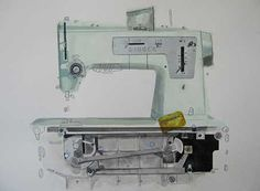 A photograph of a drawing of a green singer sewing machine by KJ James