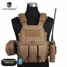 121.40$  Buy here - http://ali4vw.worldwells.pw/go.php?t=2024883214 - Emersongear LBT6094A Style Vest With Pouches Airsoft Painball Military Army Combat Gear EM7440CB 6094 Cordura Coyote brown 121.40$