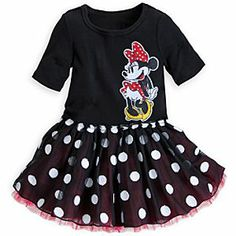 Disney Minnie Mouse Black Dress for Girls | Disney StoreMinnie Mouse Black Dress for Girls - This cute black Minnie Mouse dress will have your young one in a spin with its skirt of layered tulle. A glittering Minnie appliqu� adds a sparkle to the signature style of this polka dot dress.